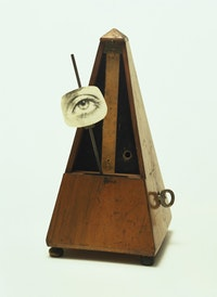 "Man Ray (Emmanuel Radnitzky), ""Indestructible Object (or Object to Be Destroyed),"" 1964 (replica of 1923 original). Metronome with cutout photograph of eye on pendulum, 8 7/8"