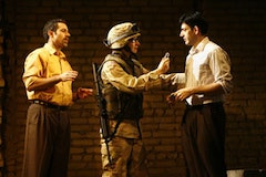 Waleed F. Zuaiter, Jeremy Beck and Sevan Greene in a scene from George Packer's <i>Betrayed</i>, being presented by Culture Project.  Credit: Carol Rosegg