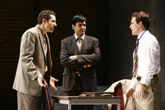 Waleed F. Zuaiter, Sevan Greene and Mike Doyle in a scene from George Packer's <i>Betrayed</i>, being presented by Culture Project.  Credeit: Carol Rosegg