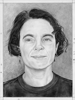 Portrait  of Jane Fine. Pencil on paper by Phong Bui.