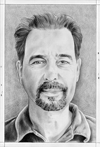 Portrait  of James Esber. Pencil on paper by Phong Bui.