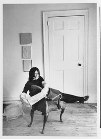 H. Landshoff, Eva Hesse in her home/studio at 134 Bowery, New York, c. 1968.  © The Estate of Eva Hesse, courtesy Hauser & Wirth, Zurich, London
