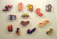 Small wooden wall sculptures by Rachel Beach (all 2008)