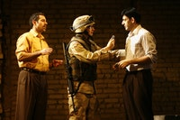 Waleed F. Zuaiter, Jeremy Beck and Sevan Greene in a scene from George Packer's <i>Betrayed.</i> Photo by Carol Rosegg.