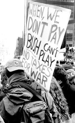 New York City, March 2004 demonstration on the first anniversary of war in Iraq. Photo by Ed Hedemann.
