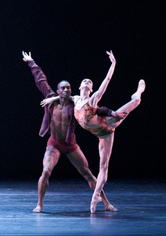 Diana Vishneva with Desmond Richardson in Dwight Rhoden's <i>Three Point Turn</i>. Photo by Gene Schiavone.