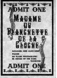 One of several ticket stubs found at the entrance to Alice Kemp's <i>Madame du Planchette de la Cloche.</i>