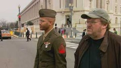 In <i>Fahrenheit 9/11</i>, Michael Moore (right) and Sgt. Abdul Henderson on Capitol Hill attempting to convince congressmen to send their sons to Iraq. Courtesy of michaelmoore.com
