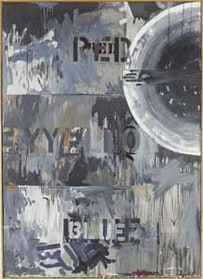 """Hart Crane is another famous dead New York poet, suicide by downing (1932). While Johns directly references a line from Crane's poem Cape Hatteras, perhaps Crane could have used a periscope as he sank beneath the waves. Jasper Johns, """"Periscope (Hart Crane)"""" (1963).Oil on canvas. 67"""
