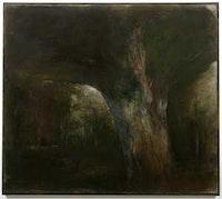 "Jake Bertot, ""Testing Tree (Tyrant and Target) Stanley Kunitz,"" (2007), oil on linen over panel. 46 1/4 x 52 in..117.48 x 132.08 cm."