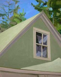 """Window in Peak of Garage,"" (1975), oil on Masonite, 20 by 16 in.."