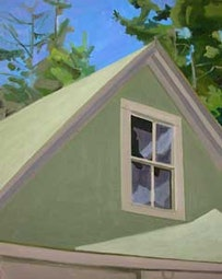 """Window in Peak of Garage,"" (1975), oil on Masonite, 20 by 16 in.."