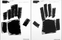 "Jenny Holzer, detail of 2 panels from ""BIG HANDS (YELLOW WHITE)"" (2006). Oil on linen in four panels. 103 1/2"