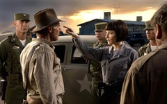 Cate Blanchett as Irina Spalko confronts Indiana Jones.