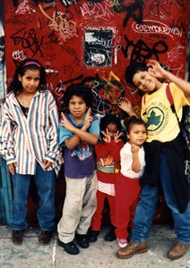 Local kids posing for the Wall of Fame.<i> Photo by Clayton Patterson</i>