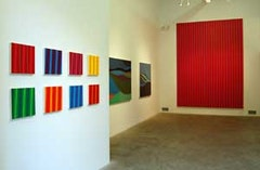 Spectrum exhibition installation, right to left: 8 works by Gabriele Evertz, 2 works by Margaret Neill, back wall: Gabriele Evertz; REDS and ICEBLUES, acrylic on canvas 2008 , 144