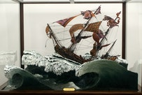 Yinka Shonibare, MBE, La Meduse [detail] (2008). Wood, foam, plexiglas, Dutch wax-printed fabric, and acrylic paint.  83 1/2