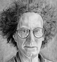 Portrait of Robert Hullot-Kentor. Pencil on paper by Phong Bui.