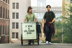<i>Squires and Luke selling it big on the streets. Photo courtesy of Sony Pictures Classics.</i>