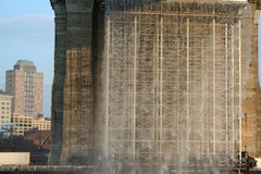 A close-up of the Waterfalls under the Brooklyn Bridge.