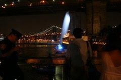 The Brooklyn Bridge Waterfalls at Night. <i> All photos by Nadia Chaudhury </i>.