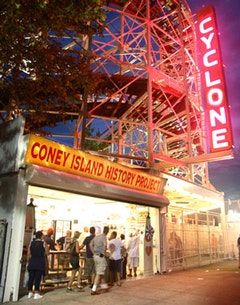 CIHP exhibition center Cyclone Sign.  <i>Photo courtesy of the Coney Island History Project.</i>