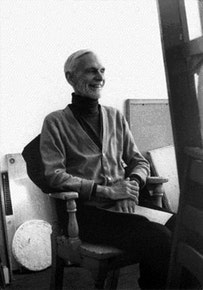 Edwin Denby, sitting ofr a portrait by George Schneeman, January 1980.  Photograph by Ron Padgett.
