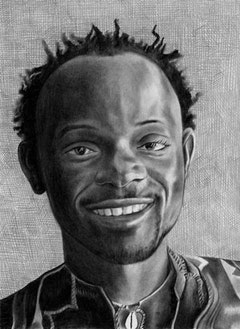 Portrait of Baye Kouyate.  Pencil on paper by Phong Bui.