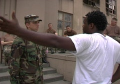 <i>Scott Roberts confronts soldiers in New Orleans in TROUBLE THE WATER, a film by Tia Lessin and Carl Deal. A Zeitgeist Films release.</i>