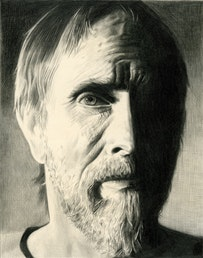 <i>Portrait of Bruce Connor, Pencil on paper by Phong Bui.</i> From original photograph by Kim Stringfellow.