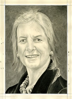 Portrait of Anne D'Harnoncourt. Pencil on paper by Phong Bui.
