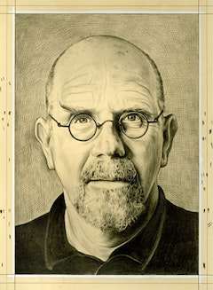 Portrait of the artist by Phong Bui. Pencil on paper.