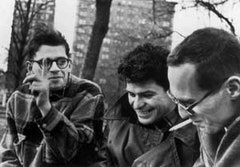 From left to right: Allen Ginsberg, Gregory Corso, Barney. Still from OBSCENE, an Arthouse Films release, 2008.