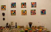 <i>Stanley Whitney's studio in Cooper Square, Manhattan.  September 18, 2008.</i>