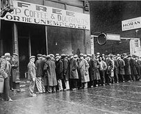 """During the Great Depression preceding the passage of the Social Security Act, """"soup kitchens"""" provided the only meals some unemployed Americans had.  This particular soup kitchen was sponsored by the Chicago gangster Al Capone. Source: http://www.ssa.gov/history/acoffee.html."""