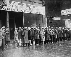 "During the Great Depression preceding the passage of the Social Security Act, ""soup kitchens"" provided the only meals some unemployed Americans had.  This particular soup kitchen was sponsored by the Chicago gangster Al Capone. Source: http://www.ssa.gov/history/acoffee.html."