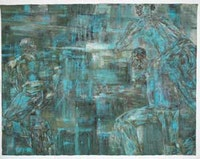 "Leon Golub, ""Night Scene 1"" (1988). Acrylic on linen. 120 x 156 inches.Photo: Hermann Feldhaus. Art © Estate of Leon Golub/Licensed by VAGA, New York, NY. Courtesy Ronald Feldman Fine Arts, New York."
