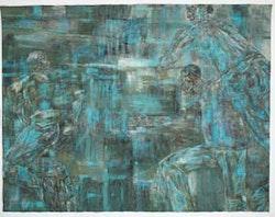 "Leon Golub, ""Night Scene 1"" (1988). Acrylic on linen. 120 x 156 inches.Photo: Hermann Feldhaus. Art © Estate of Leon Golub/Licensed by VAGA, New York, NY. Courtesy Ronald Feldman Fine Arts, New York."