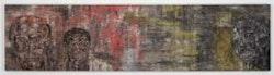 "Leon Golub, ""Three Black Men"" (1991). Acrylic on linen. 26 1/2 x 104 inches. Photo: Hermann Feldhaus. Art © Estate of Leon Golub/Licensed by VAGA, New York, NY. Courtesy Ronald Feldman Fine Arts, New York."