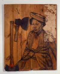"Whitfield Lovell, ""Cut"", (2008). Conte crayon and wallpaper on wood, axes, nails. 46 ½  x 37 x 4 in. Courtesy DC Moore Gallery (New York)."
