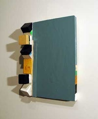 """Grey Variables"" (2008). Enamel, acrylic and painted wood elements 12 x 8.5 x 2.5 inches. Courtesy of the artist."
