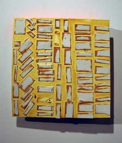 """V3"" (2008). Cut Velcro, acrylic and shellac on wood. 13 x 13 x 2 inches. Courtesy of the artist and DCKT Gallery."
