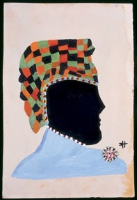 "Clementine Hunter (1886/1887–1988), ""Black Matriarch,� Melrose Plantation , Natchitoches , Louisiana ; c. 1970s, oil on cardboard. Courtesy of American Folk Art Museum ."