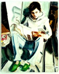 """""""E.P. reading (self-portrait),"""" 2005. Oil on board. 10 x 8 in. 25.4 x 20.3 cm Collection David Teiger. Courtesy Sadie Coles HQ, London."""