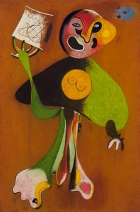 Joan Miró. (Spanish, 1893-1983). Woman (Opera Singer). (October) 1934. Pastel and pencil on flocked paper, 42 x 28