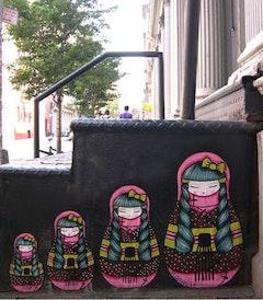 Koralie's exuberant geisha has been seen all around the world. Here, in New York. Photos courtesy of Koralie.