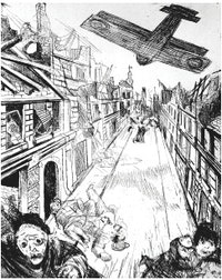 Otto Dix, Lens Being Bombed (1924), etching, from the War portfolio, Private collection, New York. Courtesy Neue Galerie New York.