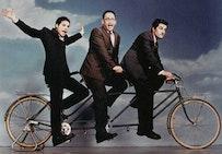 The cast of <i>STELLA</i> (from left, Michael Ian Black, David Wain, and Michael Showalter) on a joy ride