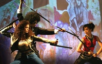 Bonnie Sherman, Sheldon Best, and Maureen Sebastian in Soul Samurai. Photo by Theresa Squire.