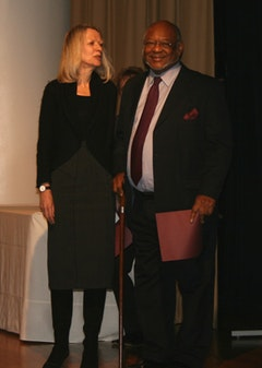 Lynne Cooke and Kinaston McShine at the 2008 AICA awards. Photo by Larry Litt.